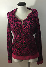C4 Juicy Couture Pink Leopard Jacket XL! Hoodie Zip Up Spots Hood