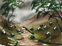 ACEO ATC original art miniature painting ' Hills and Sheep ' by Bill Lupton