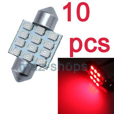 10x RED 31MM 12SMD Festoon Dome Map Interior LED Light DE3021 DE3022  DE3175