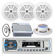 "Black Marine 4"" Speakers, 400W Amplifier, Antenna, PLMRB29W White USB AUX Radio"