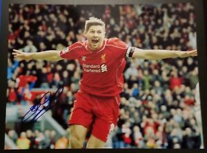 Steven Gerrard Signed 8.5x11 Photo Liverpool LA Galaxy England