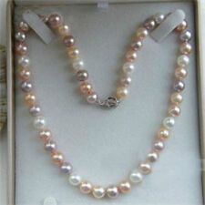 7-8mm Genuine Natural White & Pink & Purple Akoya Cultured Pearl Necklace 18""