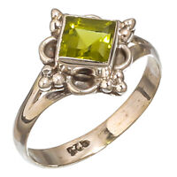FACETED PERIDOT GEMSTONE 925 STERLING SILVER HANDMADE JEWELRY RING 8.25