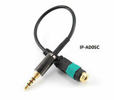 """6"""" Cross Pin 3.5mm Stereo TRRS 4-Conductor M to F iPhone Headset Cable Adapter"""