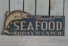 Primitive vintage style wooden Fresh SEAFOOD TODAY'S CATCH sign home wall decor