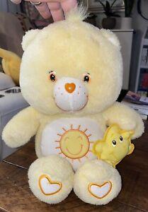 """Care Bear Funshine Yellow Glow-a-lot Glow In Dark 2003 Stuffed Plush Toy 13"""""""