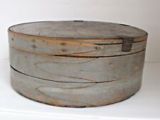 "Antique Painted Round 3 Finger Cheese Pantry Box Earliest & Best 17"" X 6 1/2"""""