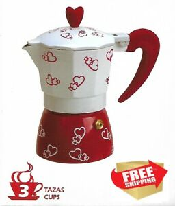 Stove Top Cuban Coffee Espresso Maker 3 cups Red Heart Designed Cafetera Cubana