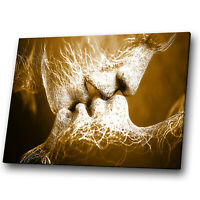 Brown White Kiss People Abstract Canvas Wall Art Cool Picture Prints
