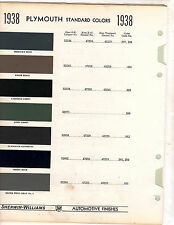 1938 PLYMOUTH 38 COLORS PAINT CHIPS 38 SHERWIN WILLIAMS 14PC WEST COAST