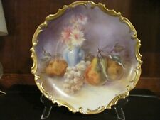 """LIMOGES 1920's Hand Painted, Signed, 13"""" Fruit & Flowers Charger, Heavy Gold Rim"""