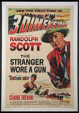 THE STRANGER WORE A GUN RANDOLPH SCOTT CLAIRE TREVOR 3-D WESTERN 1953 1-SHEET LB