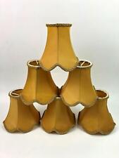 Scalloped Edge Silk Gold Chandelier Shade Mini Clip On Set of 6