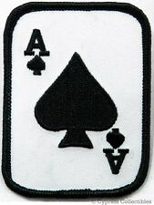 ACE of SPADES iron-on PATCH texas hold 'em POKER PLAYING CARD embroidered emblem