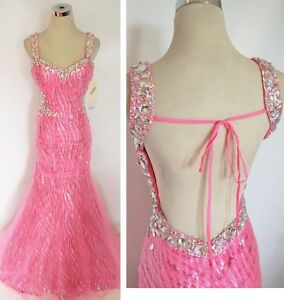 NWT Party Time 6039 HOT PINK $498 Evening Prom Gown 4