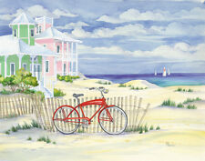 Beach Cruiser Cottage I Landscape Art Poster Print by Paul Brent, 14x11