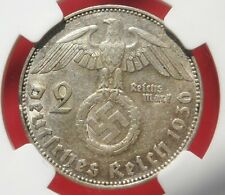 NGC NAZI SWASTIKA 1936-J 2 ReichsMark SILVER COIN AU-53 Germany 3rd-REICH MINT!!
