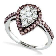 Chocolate Brown & White Diamond Cluster Ring 10K White Gold .99ct Pear Shape