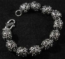 "Silver Plated Copper Bali Style Round Bead Link Bracelet 6 3/4"" inside 8"" long"