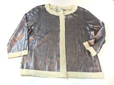 WOMENS NEW Loft Silver Sequin Button Down 3/4 Sleeve Cardigan SIZE L