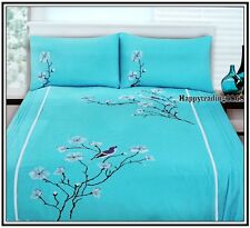 Turquoise White Tree Bird Embroidery Pintuck QUEEN QUILT DOONA COVER SET 280TC