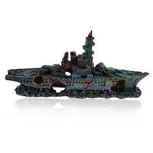 Large Aquarium Fish Tank Ornament Decoration Plane Wreck Colorful Resin