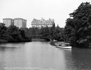 "1903 Central Park Lake-Bridge NYC Vintage Photograph -  8.5"" x 11"" Reproduction"