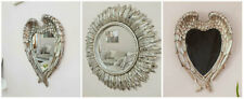 Silver Feathered Angel Wings Mirror Shabby Chic Heart Ornate Wall Decor Bedroom