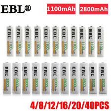 EBL Lot AA AAA 2800mAh 1100mAh NI-MH Rechargeable Batteries + Box For Flashlight
