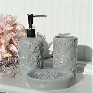 Clayre & Eef Bad Set 3 tlg Blättermuster Grau Keramik Landhaus im Shabby Finish