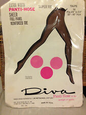 Wow! Vintage Diva extra width taupe nude 1x pantyhose