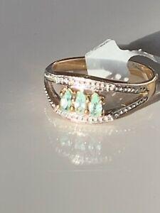 Natural paraiba tourmaline 9 ct carat solid gold ring