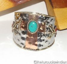Southwest Silver Copper Wide Cuff Bracelet Faux Turquoise Cross