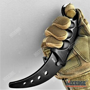 "7.5"" Fixed Blade Knife STEEL BLADE Karambit Trainer Dull BLACK Safety Edge"