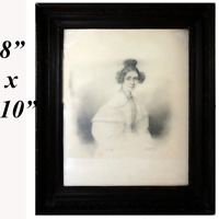 Antique c.1835s French Portrait Drawing, Sketch of Young Woman, Ingres?, Frame