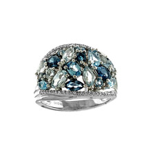 Natural Swiss & London Blue Topaz Aquamarine Cluster Sterling Silver  Ring