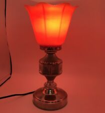 Vintage Soviet Night Light Red Lamp USSR Tulip Shape City Pictures Interior Rare
