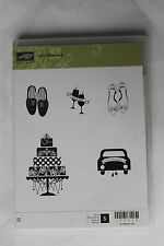 """Stampin Up Just Married set of 5 Rubber Stamps """"Retired"""" Cake, Champagne Mr."""