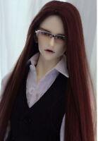 "8-9"" 1/3 BJD Red Brown Straight Long Wig LUTS Doll SD DZ DOD MSD Hair"
