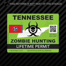Zombie Tennessee State Hunting Permit Sticker Self Adhesive Vinyl Tn