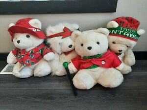 Lot of 4 Vintage 1986 1987 1988 1993 Dayton Hudson Santa Bears w/ accessories