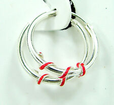 925 Solid Sterling Fine Silver Handmade Pair of Hoop Earrings Wali Gift - 399