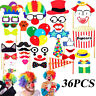 36pcs Selfie Photo Booth Props Funny Circus Clown Birthday Hen Kids Party Games