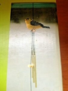 """Goldfinch Metal Windchime~NEW~17"""" Wind Chimes~Hand-painted Gold Resin Bird"""