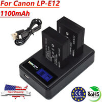 LP-E12 Camera Battery / Charger for Canon Rebel SL1 EOS 100D EOS M2 EOS M10 SK