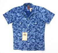 NEW DICKIES HERITAGE COLLECTION NAVY DENIM COTTON FLORAL SLIM BUTTON DOWN SHIRT