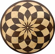 "24"" Assembled Wood Floor Inlay 85 Piece Baltic Circle Medallion Flooring Table"