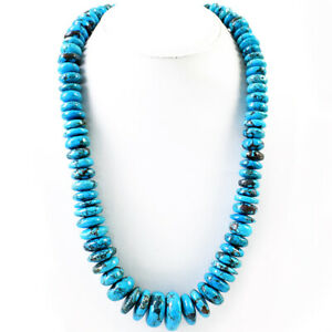 Women Jewelry 1065.00 Cts Natural Round Shape Turquoise Beads Necklace (DG)