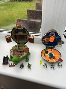 2 Vintage Teenage Mutant Ninja Turtles Raphael Castle/Donatello Playset Mirage