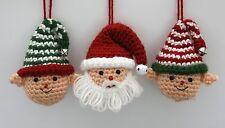 Christmas Holiday Santa and Elves Crochet Ornament Craft Kit makes 3